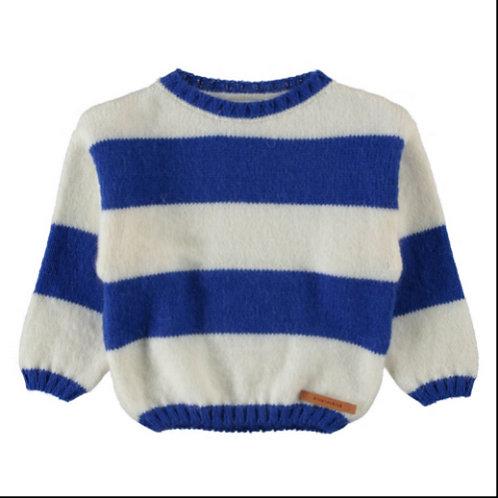 PI AW21Knitted sweater | ecru & indigo blue