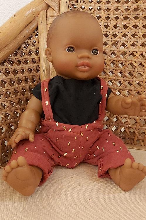 PAOLA REINA - Poupée africaine garçon pantalon bretelle