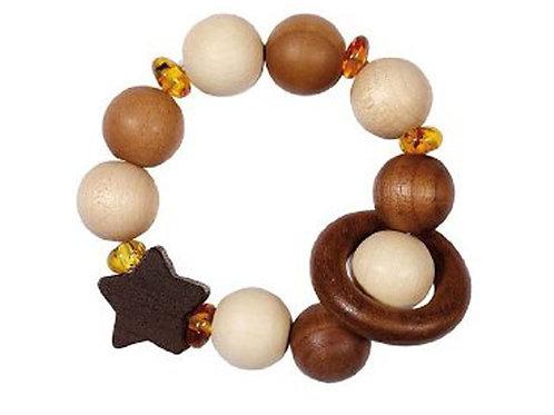 Heimess - Bracelet, hochet de manipulation en bois et ambre