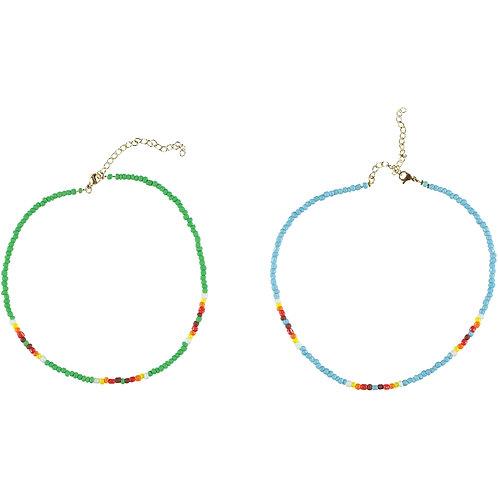 PIUPIUCHICK - Duo de collier de perles vert et bleu