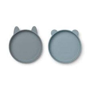 LISTE DUPAS PETERS -  Set de 2 assiettes en silicone bleu