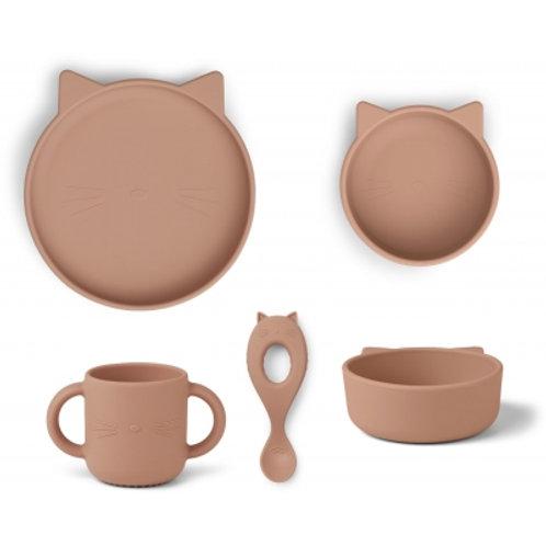LISTE Dufour Collard - Set de repas en silicone vieux rose