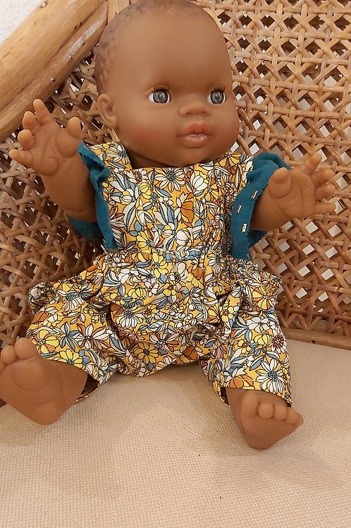 PAOLA REINA - Poupée africaine fille combinaison fleurie