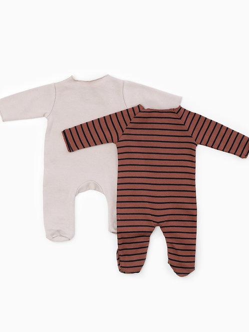 Liste Belin Perrillat - Pyjama PlayUp 6mois Ligné brique