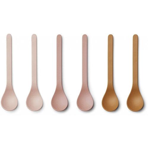 LIEWOOD - Etsu - Set de 6 cuillères en bamboo rose et moutarde
