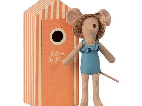 MAILEG - Beach Mice, maman souris dans la cabine de plage