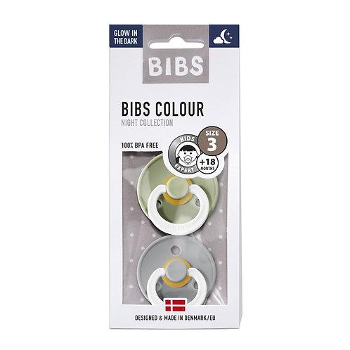 BIBS -  Duo de tétines taille 3 fluorescentes sage/cloud