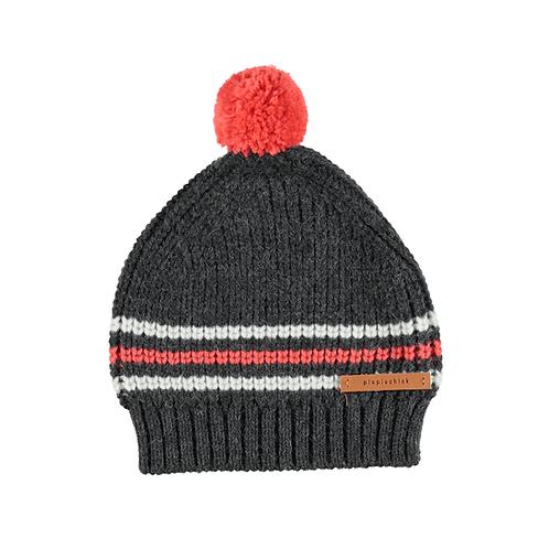 PIUPIUCHIK - Bonnet tricoté avec pompom gris rouge et écru