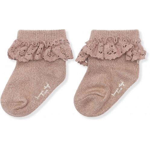 KONGES SLOJD - chaussettes en lurex avec dentelle rose blush