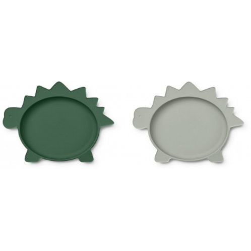 LIEWOOD - Olivia Duo d'assiettes en silicone dino vert et bleu