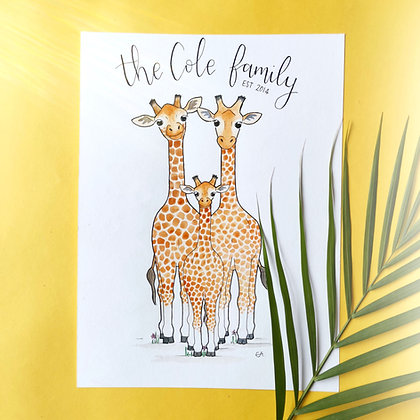 A4 Giraffe Family Portrait - hand drawn original watercolour illustration