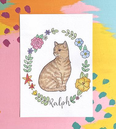 A5 Pet Portrait Illustration with Wreath