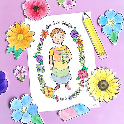 A5 Watercolour Children's Illustration with Wreath