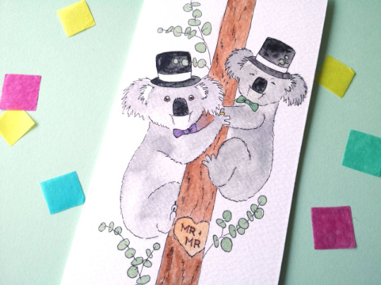 Mr and Mr Koala Wedding Card
