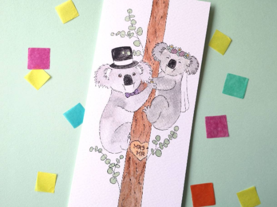 Mr and Mrs Koala Wedding Card