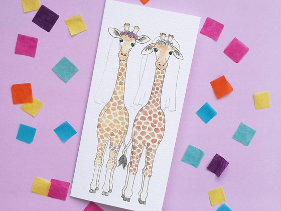 Mrs and Mrs Giraffe Wedding Card