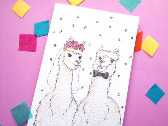 Llama Wedding Card, Mr and Mrs Llama