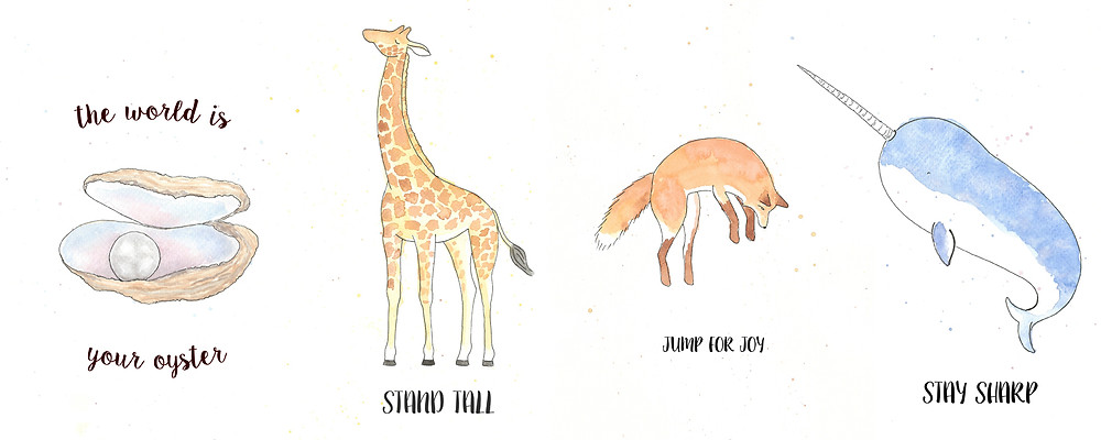 Original watercolour illustrations of animals with a positive quote in black text