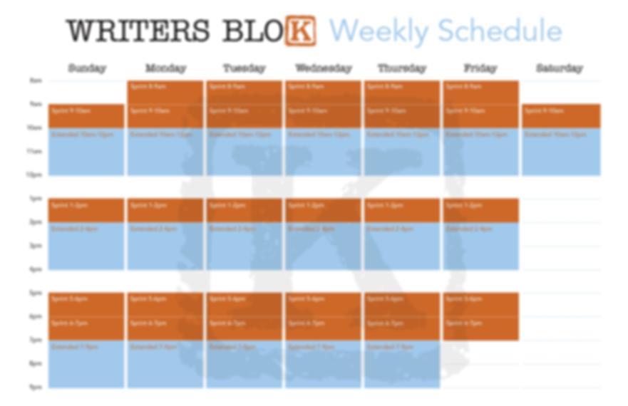 Writers Blok Weekly Schedule
