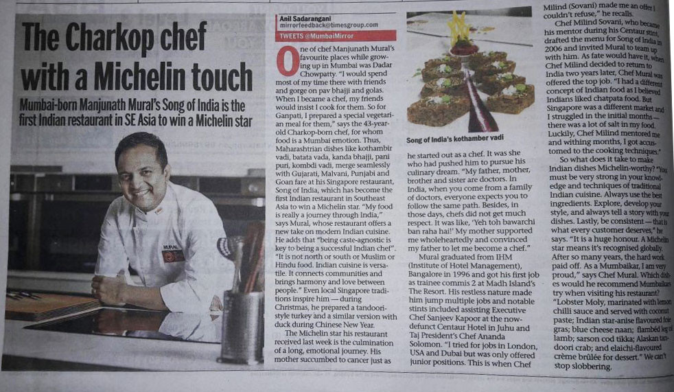 Mumbai Mirror, 31 July 2016 - The Charkop chef with a Michelin touch, Manjunath Mural