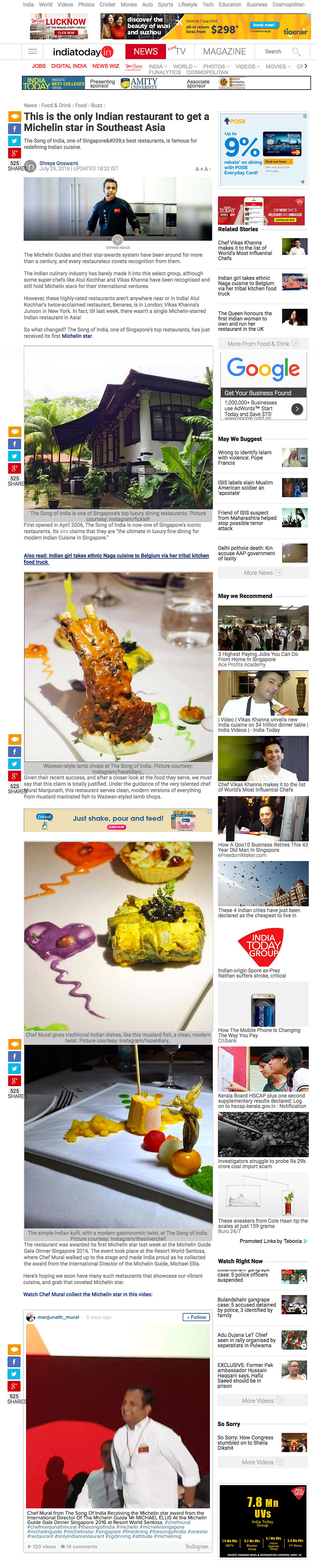 India Today, 29 July 2016 - This is the only Indian restaurant to get Michelin star in Southeast Asia