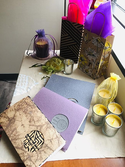 1 Bulk Gift Set of Handmade Journals and Candles