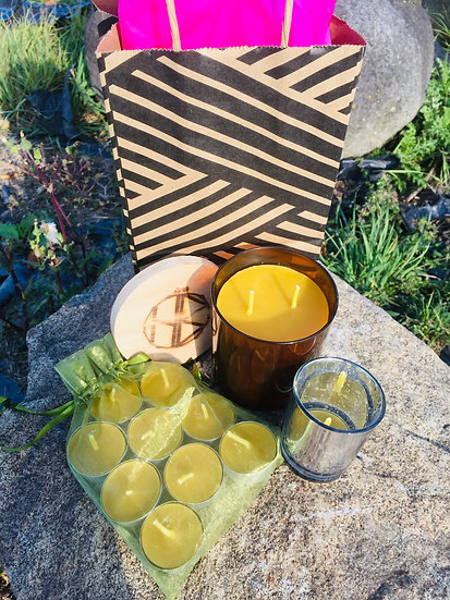 5 sets of One Empty Votive + 10 Tealights + One 8oz. Amber Glass Candle