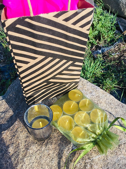 Set of 5 Tealight Beeswax Candle and Empty Votive Pairs