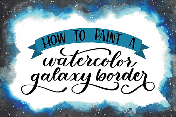 how to paint a watercolor galaxy border.
