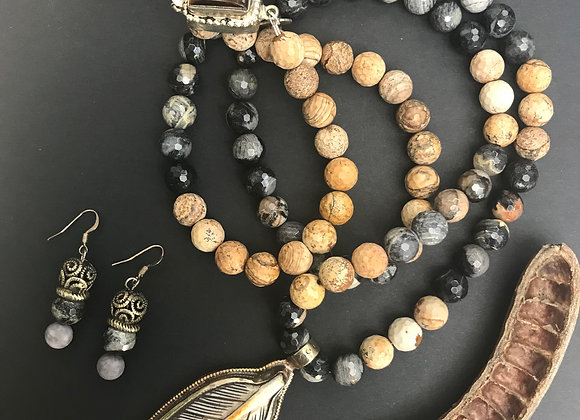 Feather & Bone Necklace & Earrings Set