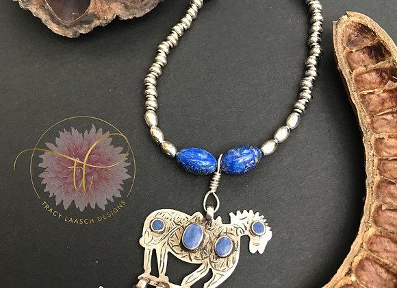 Lapis Lazuli Horse Necklace/Earrings Set