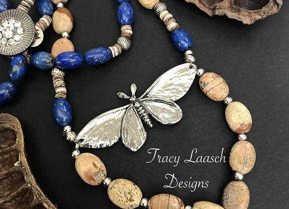 Sodalite Luna Moth Necklace & Earrings Set