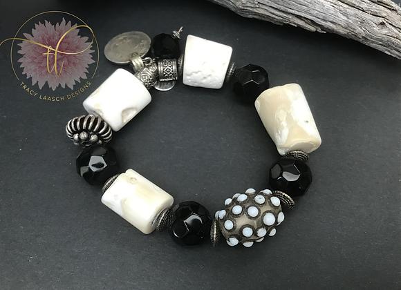 Bali Black & Coral Bracelet