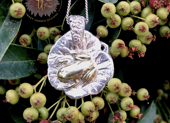 Fine Silver Frog on a Lily Pad Necklace