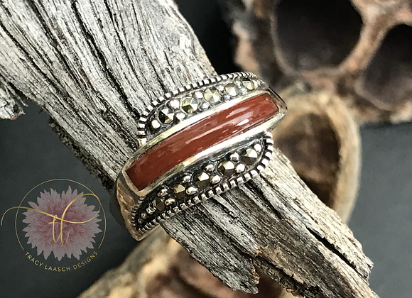 Marcasite & Red Agate Ring