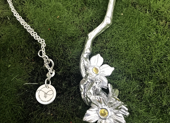 925 Sterling Silver Apple Flowers Necklace