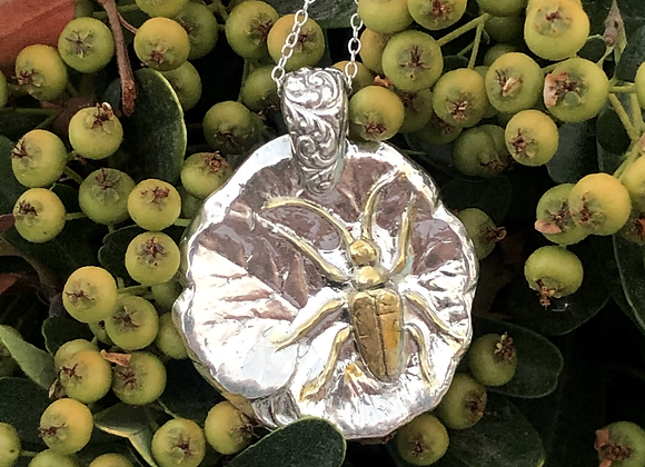 Fine Silver Bug on a Lily Pad Necklace