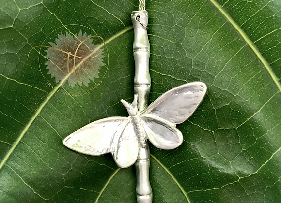 The Fine Silver Bamboo Moth Necklace