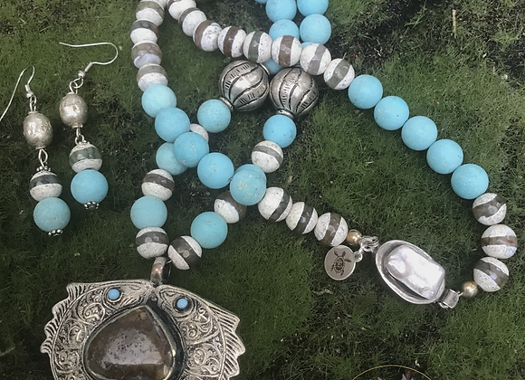 Two Blue Eyed Fish Necklace & Earrings Set