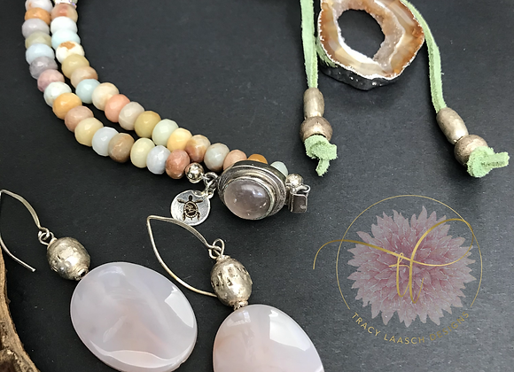 Druzy with a Twist of Lime Necklace & Earrings Set