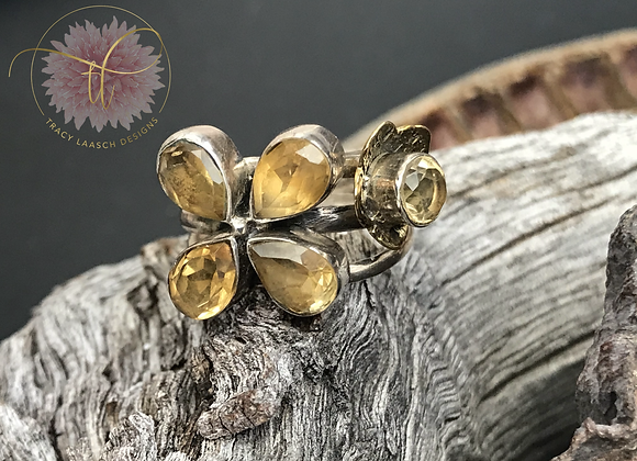 Citrine Double Flower Bouquet Ring
