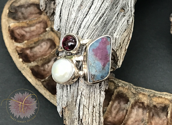 Ocean Ripples Fuchsite & Pearl Ring