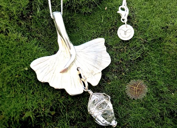 Fine Silver Gingko Biloba Leaf Necklace with Crystal Drop