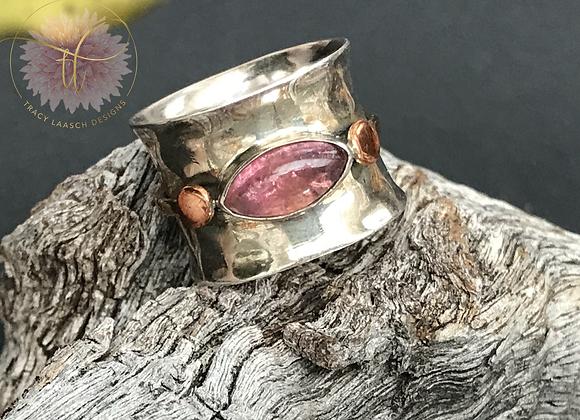 Bands of Pink Tourmaline Ring
