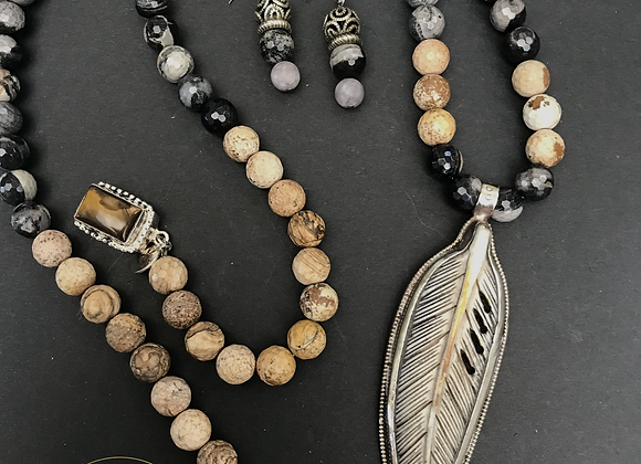 Feather & Bone Necklace & Earrings Set- Avail at Stevans