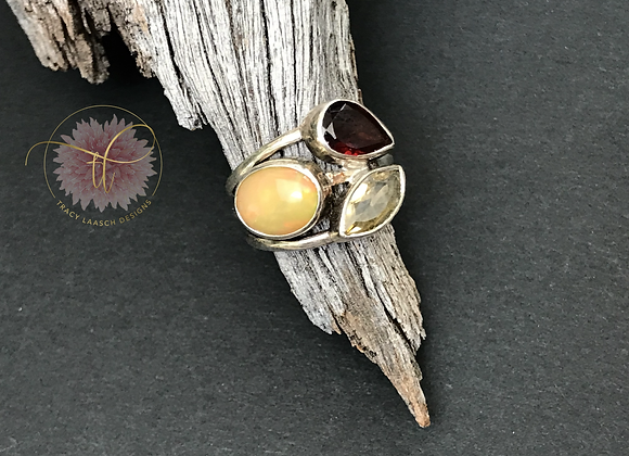 Ethiopian Opal & Garnet Ring