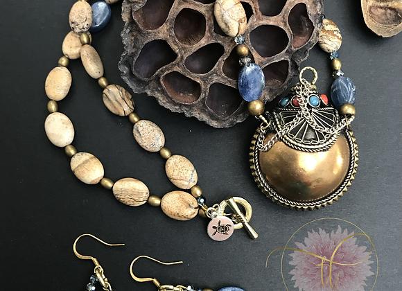 Persian Perfume Bottle Necklace/Earring Set