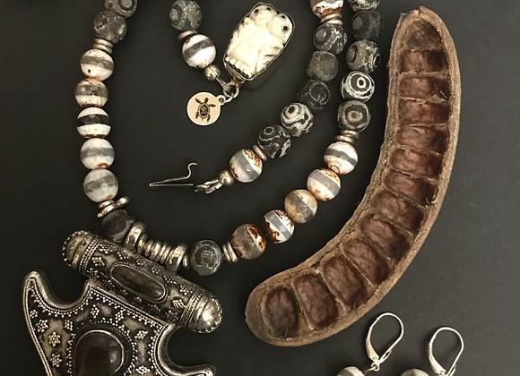 Jasper Warrior Necklace & Earrings Set