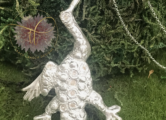 """.999 Fine Silver """"Dinner in the Garden"""" Frog Necklace"""