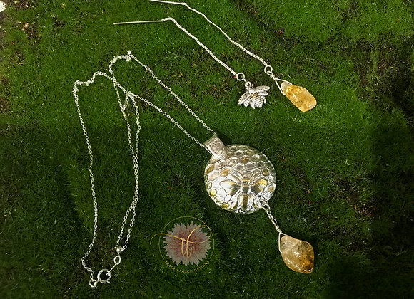 Fine Silver Bee in the Hive Necklace & Earrings Set